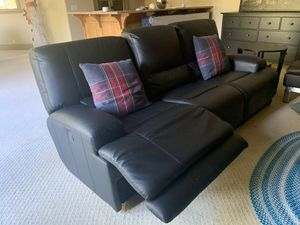 IKEA - black leather sofa with recliner for Sale in Los Gatos, CA