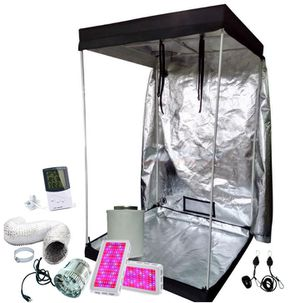 4x4 Grow tent kit w/ 2/1000w full spectrum led Grow lights, fan, filter, adj light hangers, ducting, temp/humid monitor for Sale in Colorado Springs, CO