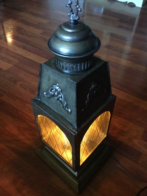 Large Amber Glass Plug In Lamp for Sale in Turlock, CA