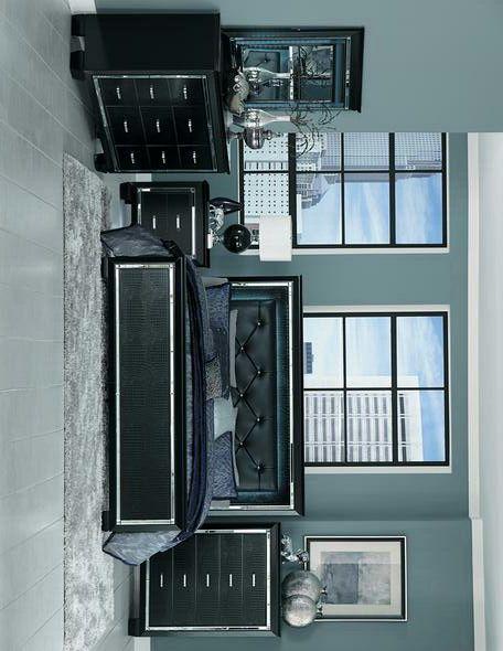 Allura Black LED King Panel Bed