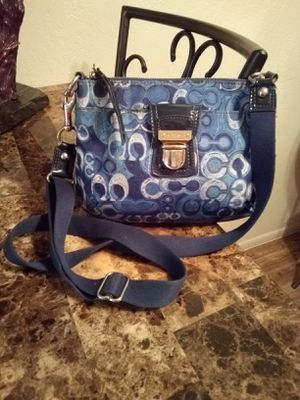 COACH Signature C Logo Jacquard Navy Blue Crossbody Messenger Shoulder Bag Purse for Sale in Phoenix, AZ