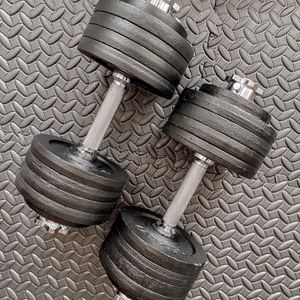 Brand new in box 105 lb (52.5x2u) pair adjustable dumbbells All Solid Steel (not negotiable) for Sale in Chula Vista, CA
