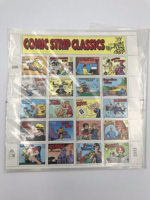 """1995 USPS Postal Service """"Comic Strips Classic"""" Stamps Sheet"""