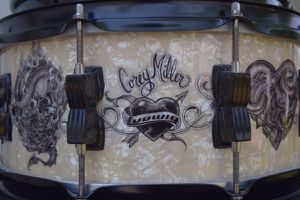 Very rare hard-to-find Corey Miller four piece tattoo Ludwig drum set $500 no cymbals or other drum hardware included. for Sale in Brandon, FL