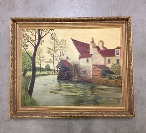 Vintage 1950's oil painting of countryside mill and river for Sale in Los Angeles, CA