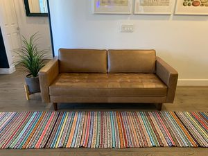 """Rivet Aiden Tufted Mid-Century Modern Leather Bench Loveseat Couch Sofa, 74""""W, Cognac for Sale in Phoenix, AZ"""