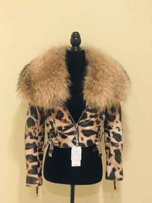 Genuine leather real raccoon fur collar crop jacket motorcycle animal print leopard coat trench top tee hoodie luxury for Sale in MONTGOMRY VLG, MD