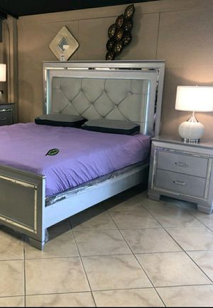 🆕️ Best  OFFER   🍻🍾 Allura Silver LED Panel Bedroom Set 1969 for Sale in Jessup, MD