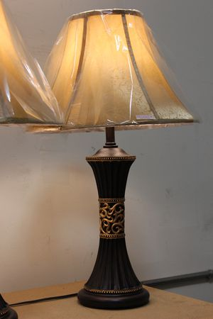 28 inch H Dark Brown with Gold Design Table Lamp, 8173 for Sale in Downey, CA