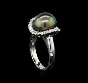 1.46 CTW Tahitian Pearl & Diamond 14K White Gold Ring for Sale in Hillsborough, CA