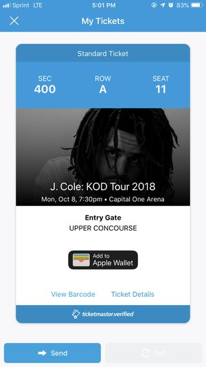 J Cole KOD Tour ticket for Sale in Washington, DC