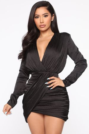 Fashion Nova Lets Shine Rhinestone Dress / Fashion Nova Black Dress for Sale in Los Angeles, CA