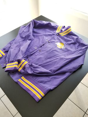 Vintage Authentic Lakers Thin No Liner Chalk Line Lakers Rear Spell Out Jacket Size Large L Fits Smaller for Sale in Los Angeles, CA