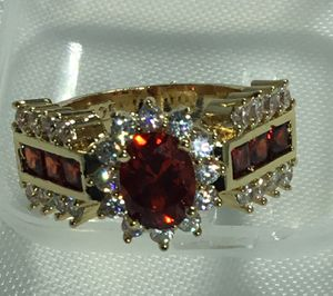 Ruby red 18k gold filled size 7 ring for Sale in San Diego, CA
