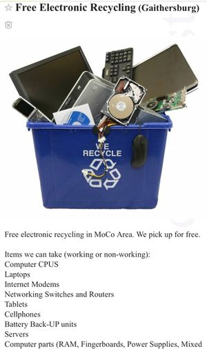 Free Electronic Recycling for Sale in Gaithersburg, MD