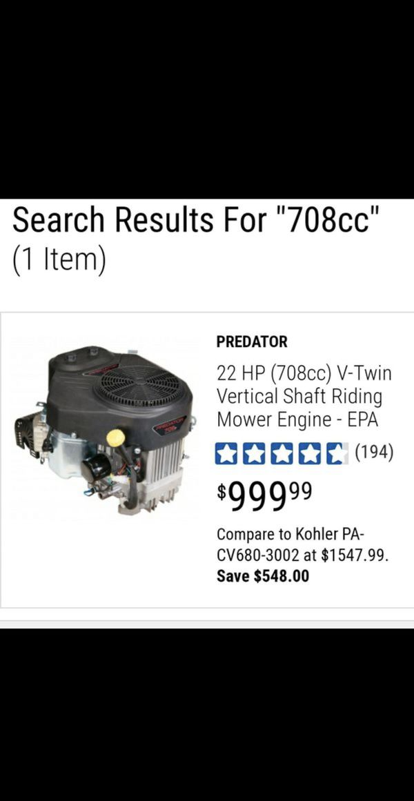 BRAND NEW, PREDATOR 22 HP (708cc) V-Twin Vertical Shaft Riding Mower Engine - EPA ,NUEVO