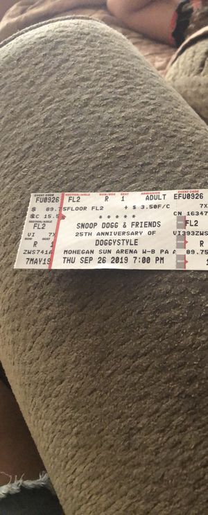 Snoop Dog Concert Ticket for Sale in Hilldale, PA