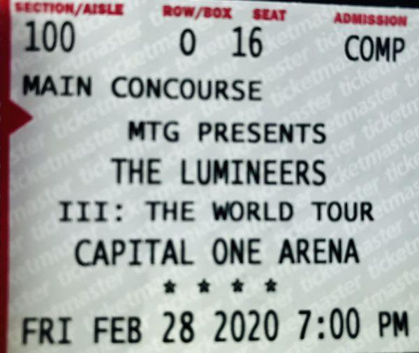 LUMINEERS TIX @ Capital 1 -Near stage!