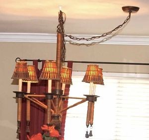Hanging Chandelier with wicker/rattan material for Sale in San Diego, CA