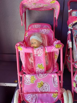Double doll strollers with Mini double dolls $30 for Sale in Palmdale, CA