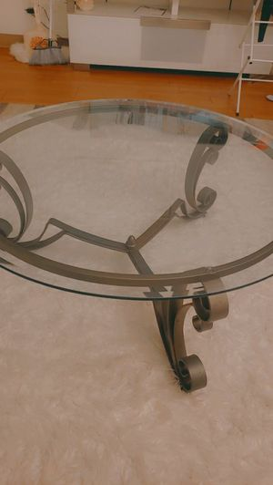 NEW modern coffee table and side table .hard heavy thick glass. Stand on brown gold metal .beautiful NEW no scratches no damage. for Sale in Concord, CA