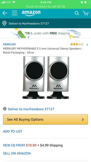 Mercury Personal speaker system stereo sound brand new never used comparing price in amazon11$+5$shipping .i will sell it for 6$ for Sale in Smyrna, TN