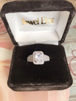 925 Stamped Sterling Silver Sapphire and Simulated Diamonds Ring Sz9 for Sale in Washington, DC
