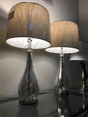 """New in box 2 pack stylecraft mercury glass table elegant 29"""" tall table lamps with natural shade lamp for Sale in Montebello, CA"""
