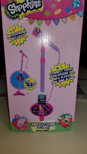 NEW IN BOX SHOPKINS GIRLS MICROPHONE AND STAND AND SING ALONG. PICK UP MIDDLEBORO ONLY FINAL SALE for Sale in Middleborough, MA