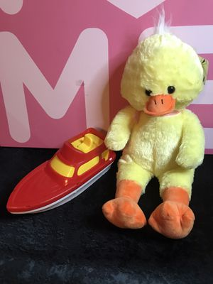 Plush yellow 19 inch ducky with bathtime boat! New! for Sale in Savannah, GA