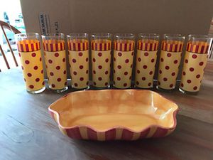 New Southern Living At Home Red & Yellow Polka Dots and Stripes 8 Glass Cups and Dish for Sale in Bolivar, WV