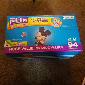 HUGGIES PULL UPS SIZE 2T-3T WITH GIANT COLORING MAT for Sale in Rancho Cucamonga, CA