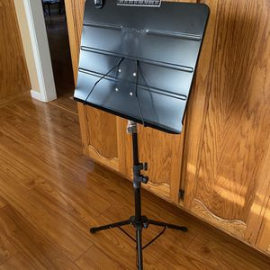 Music Stand Sheet, Souidmy Heavy Design Music Stand with Carrying Bag, Sheet Music Folder and Lamp, 31.5-57 inches Adjustable Height (Extra Thickness) for Sale in Turlock, CA