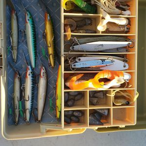 Tackle Box With 7 Rapala Lures, 7Irons, Swimbaits and Weights for Sale in Fountain Valley, CA