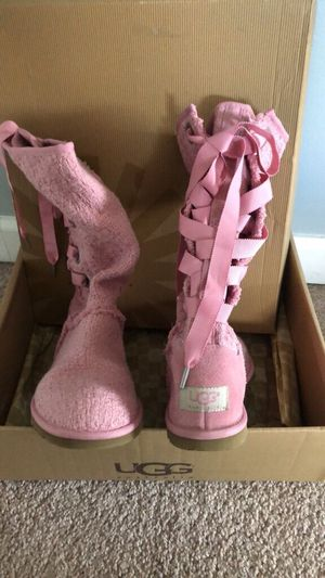 Pink heirloom lace up womens uggs for Sale for sale  Monroe Township, NJ