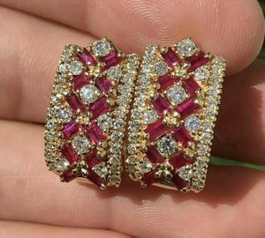 14K Gold 2Ct Baguette Red Ruby & Diamond Over Cluster Omega Back Earrings for Sale in Covina, CA