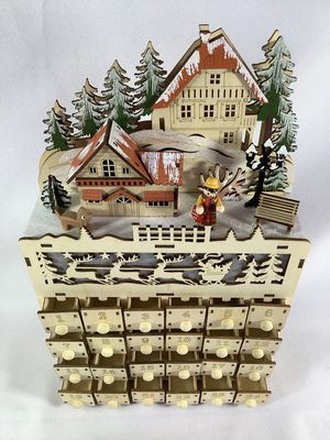 Martha Stewart Rare Wooden Advent Calendar Wood Town Village LED Lighted for Sale in Berkeley, IL