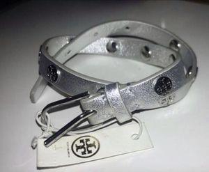 Tory Burch Silver Leather Wrap Bracelet • Designer Jewelry for Sale in Washington, DC