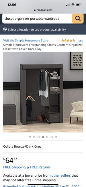 Simple Houseware Freestanding Cloths Garment Organizer Closet with Cover, Dark Gray for Sale in Medford, MA