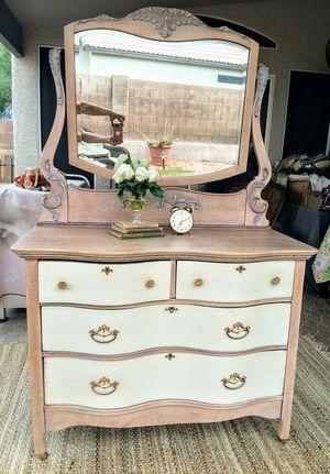 Refinished Vintage/Antique Serpentine Dresser with Mirror for Sale in Phoenix, AZ