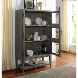 MODERN RUSTIC GRAY GRAIN FINISH TALL KITCHEN DINING CABINET SERVER STORAGE DISPLAY - for Sale in Downey,  CA