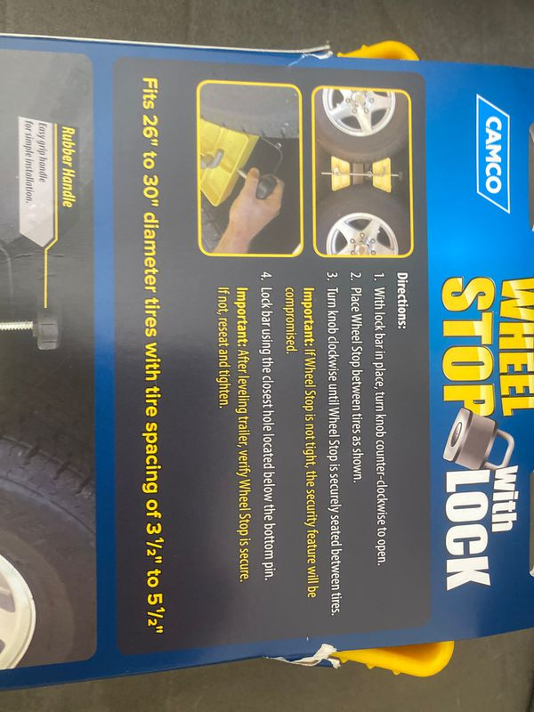 Camco wheel stop for double axle trailers