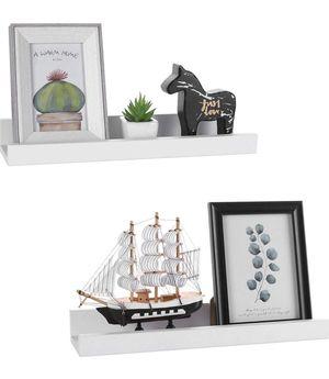 White Picture Ledge Shelf Multi-Use Wood Floating Wall Shelf Photo Ledge Kids Bookshelf Wall Display Shelf (2 Pack) for Sale in Alhambra, CA