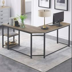 Home/ Office L-Shaped Computer Desk, Industrial Wood & Metal Sturdy Corner Desk w/ Shelves for Sale in Hidden Hills,  CA