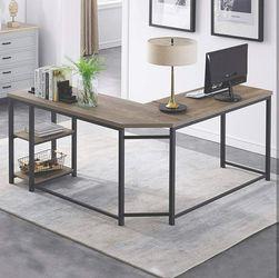 Home/ Office L-Shaped ComputerDesk, Industrial Wood & Metal Sturdy Corner Desk w/ Shelves for Sale in Hidden Hills,  CA