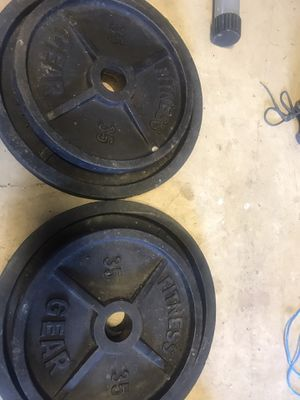 Pair of 35 Lbs Olympic weights plates for Sale in Centreville, VA