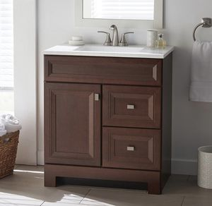 Home Decorators Collection Sedgewood 30-1/2 in. W Bath Vanity in Dark Cognac with Solid Surface Technology Vanity Top in Arctic with White Sink for Sale in Dallas, TX