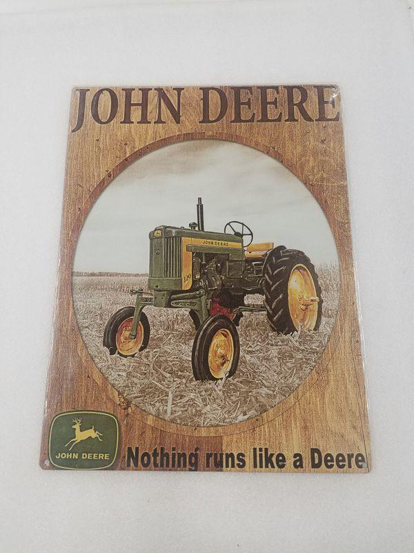 John deere farm tractor steel metal sign