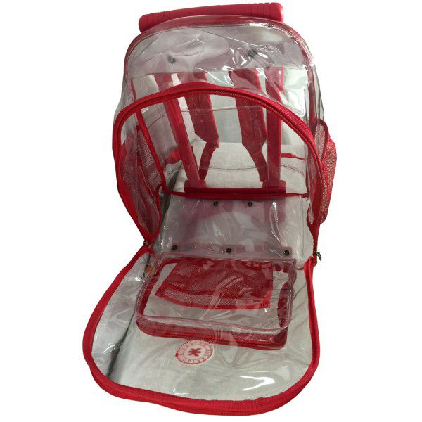 Rolling Clear Backpack Heavy Duty See Through Daypack School Bookbag with Wheels