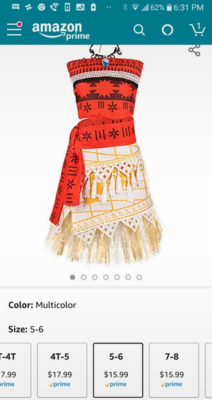 Moana Costume size 5/6 for Sale in San Jose, CA